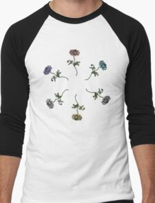 Scattered Flowers Black Men's Baseball ¾ T-Shirt