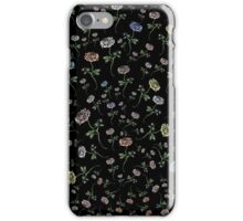 Scattered Flowers Black iPhone Case/Skin