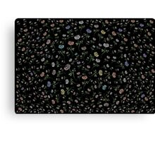 Scattered Flowers Black Canvas Print