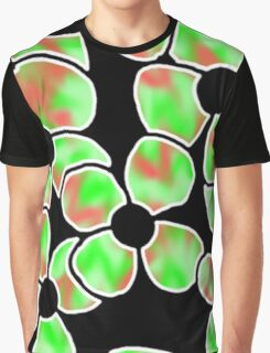 Shadow Flowers - Green and Red Graphic T-Shirt