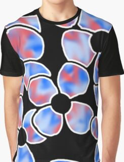 Shadow Flowers - Blue and Red Graphic T-Shirt