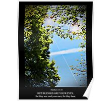 Matthew 13:16 Contrail of the Cross Poster