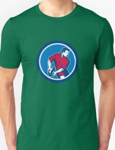Rugby Player Passing Ball Circle Retro Unisex T-Shirt