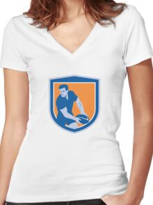 Rugby Player Passing Ball Shield Retro Women's Fitted V-Neck T-Shirt
