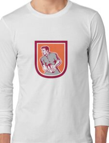 Rugby Player Passing Ball Sideview Retro Long Sleeve T-Shirt