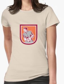 Rugby Player Passing Ball Sideview Retro Womens Fitted T-Shirt