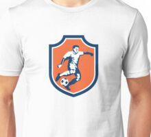 Soccer Player Kicking Ball Shield Retro Unisex T-Shirt
