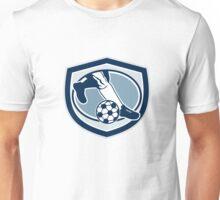 Leg Foot Kicking Soccer Ball Shield Retro Unisex T-Shirt