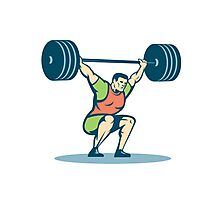 Weightlifter Lifting Barbell Retro Photographic Print