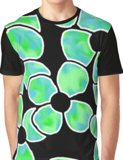 Shadow Flowers - Green and Blue Graphic T-Shirt