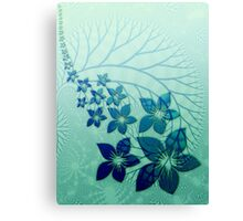 Digital Blue Flowers Greeting Card Canvas Print