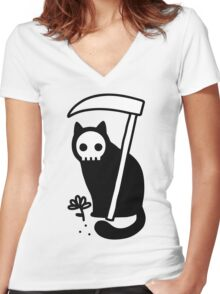 Grim Kitty Women's Fitted V-Neck T-Shirt