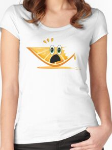 Funny Cartoon Orange Slice Shirt Women's Fitted Scoop T-Shirt