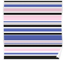 """Retro """"stripes"""" dreamy summer 2016 collection: blue, pink, black Poster"""