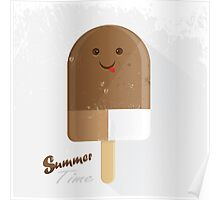 summer time ice cream with face Poster