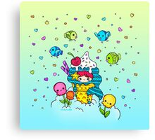 Mermaid Ice Cream with Octopus Flowers & Flying Fishes Canvas Print