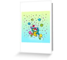 Mermaid Ice Cream with Octopus Flowers & Flying Fishes Greeting Card