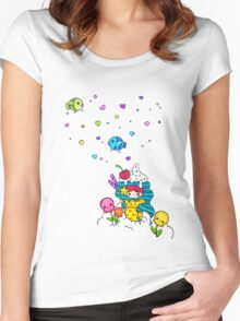 Mermaid Ice Cream with Octopus Flowers & Flying Fishes Women's Fitted Scoop T-Shirt
