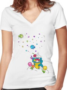 Mermaid Ice Cream with Octopus Flowers & Flying Fishes Women's Fitted V-Neck T-Shirt