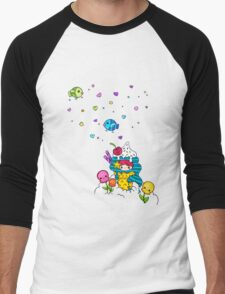 Mermaid Ice Cream with Octopus Flowers & Flying Fishes Men's Baseball ¾ T-Shirt