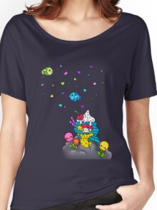 Mermaid Ice Cream with Octopus Flowers & Flying Fishes Women's Relaxed Fit T-Shirt