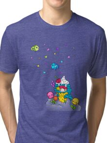 Mermaid Ice Cream with Octopus Flowers & Flying Fishes Tri-blend T-Shirt