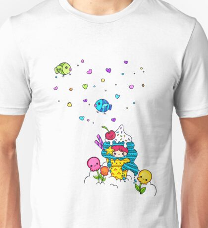 Mermaid Ice Cream with Octopus Flowers & Flying Fishes Unisex T-Shirt