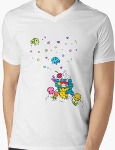 Mermaid Ice Cream with Octopus Flowers & Flying Fishes Mens V-Neck T-Shirt
