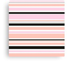 "Retro ""stripes"" collection: peach, pink and black Canvas Print"