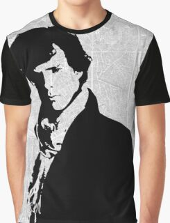 Sherlock With London Map Graphic T-Shirt