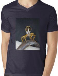 Close up macro of a Robber Fly - Efferia albibarbis Mens V-Neck T-Shirt