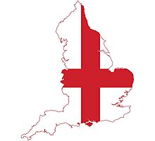 Flag Map of England  Photographic Print