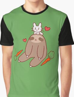Sloth Loves Bunny Graphic T-Shirt