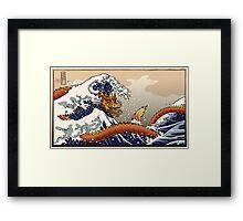 Dragon surfing Hokusai's wave Framed Print