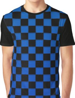 Blue and Black Checker Board Graphic T-Shirt
