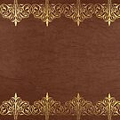 Brown leather texture Gold Lace Border by artonwear