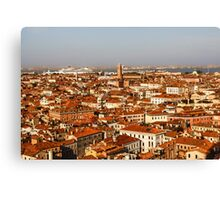 Impressions of Venice - Red Roofs and Cruise Ships Canvas Print