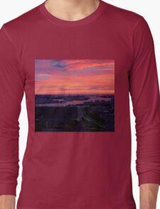 Sunset on River Nieuwe Maas, Rotterdam, (from Euromast) Long Sleeve T-Shirt