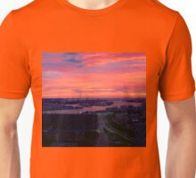 Sunset on River Nieuwe Maas, Rotterdam, (from Euromast) Unisex T-Shirt