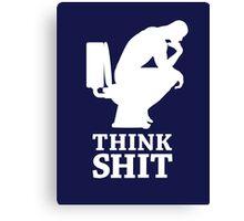 Think shit happens - The Thinker V.4 (white) Canvas Print