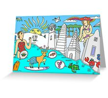 Funny Map of 30a in color Greeting Card