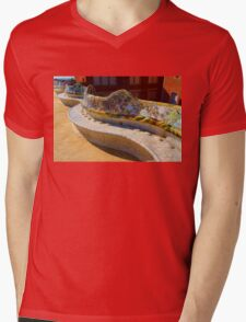 Gaudi's Park Guell Sinuous Curves - Impressions Of Barcelona Mens V-Neck T-Shirt