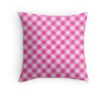 Pink gingham pattern tote bag, pillow and cases Throw Pillow