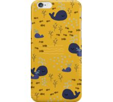 Playful Whales Drawing - Seamless Pattern iPhone Case/Skin