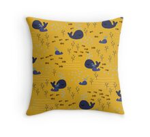Playful Whales Drawing - Seamless Pattern Throw Pillow