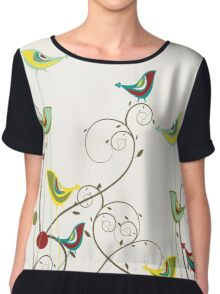 Colorful Whimsical Summer Birds And Swirls Chiffon Top