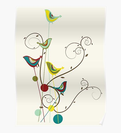 Colorful Whimsical Summer Birds And Swirls Poster