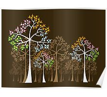 Colorful Four Seasons Trees Poster