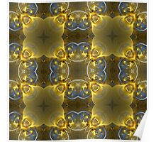 Kaleidoscope Gold and Sapphire Ribbons Poster