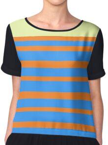 orange and blue striped pattern Chiffon Top